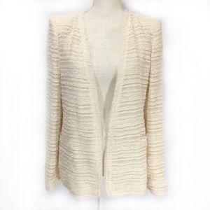 NWT Zara Cream & White Stripe Blazer Sz L